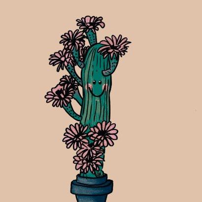 Vrolijke liefde kaart met verliefde cactus vol roze bloemen 2