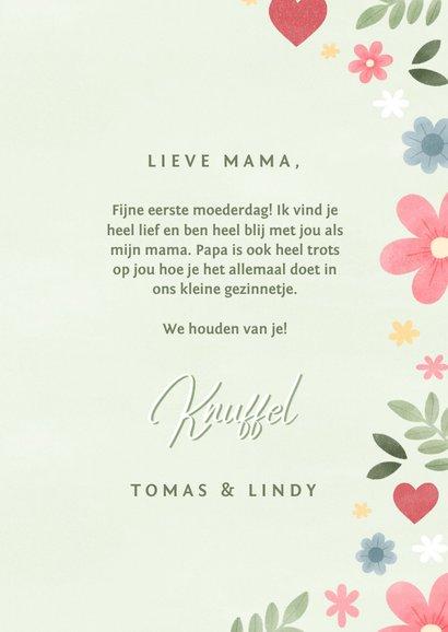 Vrolijke moederdag kaart met bloemen hartjes en foto 3