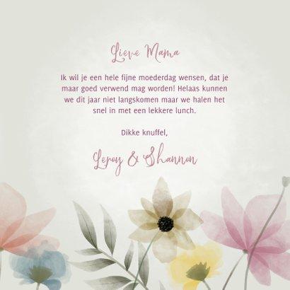 Vrolijke moederdag kaart met waterverf bloemen en takjes 3