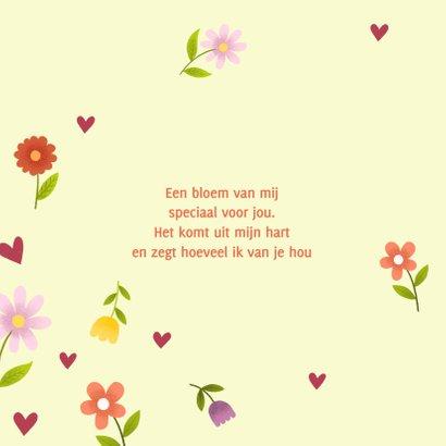 Vrolijke moederdagkaart met bloemen en hartjes 2