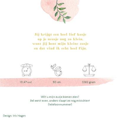 Vrolijke olifantjes op botanisch geboortekaartje zusje 2