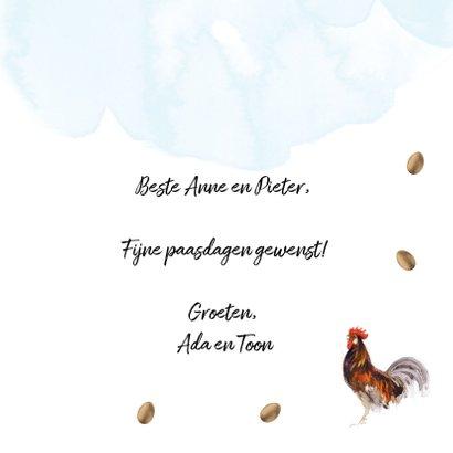 Vrolijke paaskaart met eieren, kippen en hanen 3