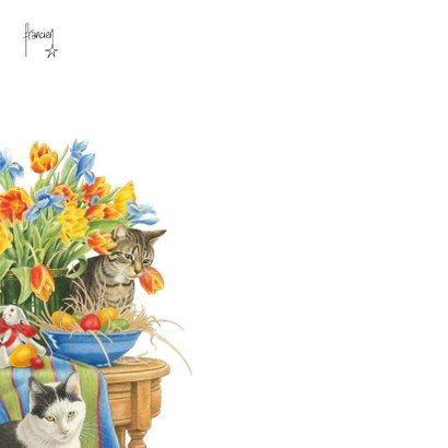 Vrolijke paaskaart met poezen en bloemen 2