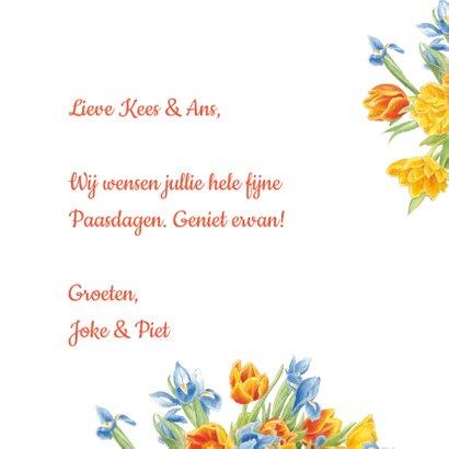 Vrolijke paaskaart met poezen en bloemen 3