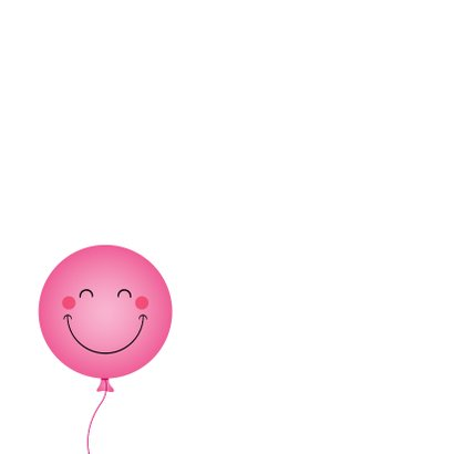 Vrolijke roze ballon verjaardagskaart 2