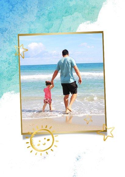 Vrolijke strand vakantiekaart met eigen foto en waterverf  2