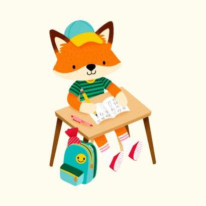 Vrolijke succeskaart succes op je nieuwe school met vosje 2