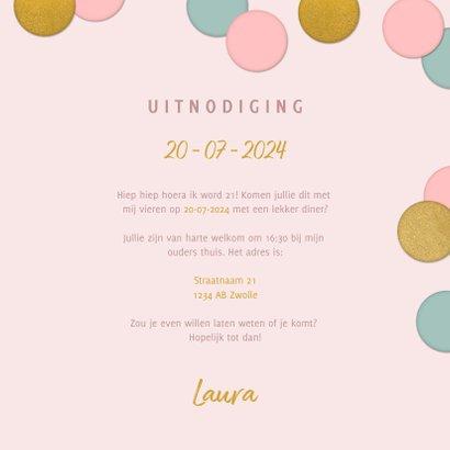 Vrolijke uitnodiging 21 diner confetti, foto en typografie 3
