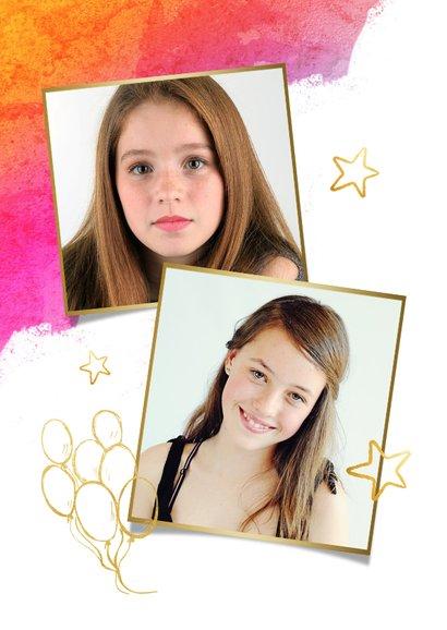 Vrolijke uitnodiging kinderfeestje meisje waterverf en goud 2
