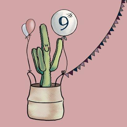 Vrolijke uitnodiging verjaardagsfeestje met cactussen 2