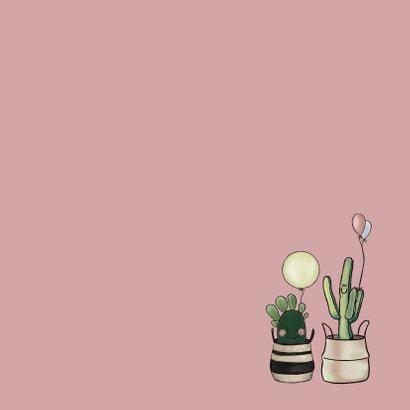 Vrolijke uitnodiging verjaardagsfeestje met cactussen Achterkant