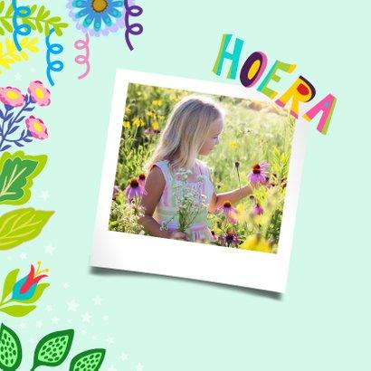 Vrolijke uitnodiging voor kinderfeestje met unicorn en foto 2