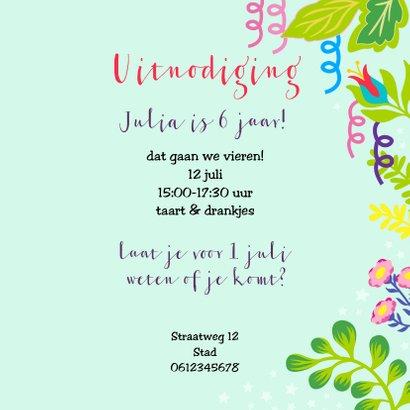 Vrolijke uitnodiging voor kinderfeestje met unicorn en foto 3