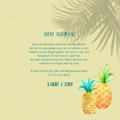 Vrolijke vakantiekaart foto, palm schaduwen en ananassen  3