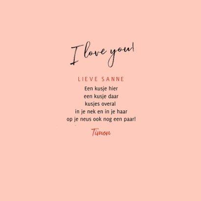 Vrolijke valentijnskaart 3 kussen i love you en confetti 3
