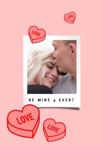 Vrolijke valentijnskaart met foto en snoep hartjes 2