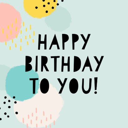 Vrolijke verjaardagskaart 'happy birthday' stippen & strepen 2