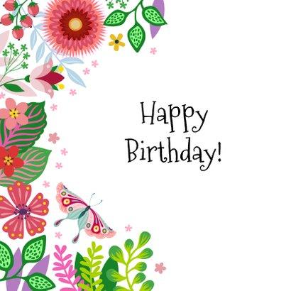 Vrolijke verjaardagskaart met bloemen en vlinders 2