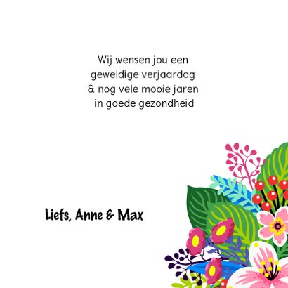 Vrolijke verjaardagskaart met bloemen en vogel 3