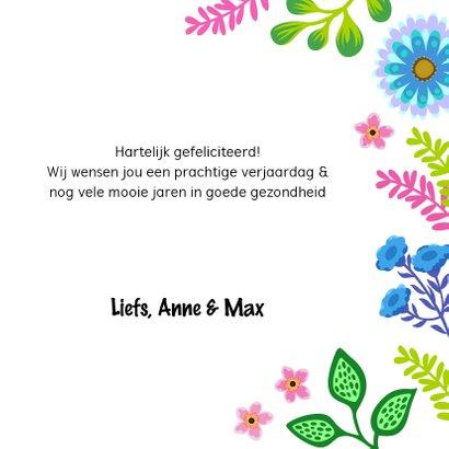 Vrolijke verjaardagskaart met cactus en bloemen 3