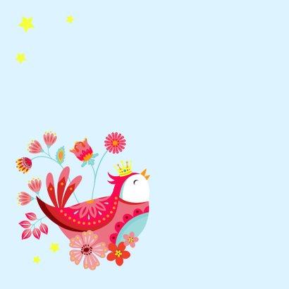 Vrolijke verjaardagskaart met een vogel met kroon 2