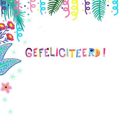 Vrolijke verjaardagskaart met flamingos en planten 2
