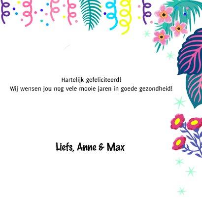 Vrolijke verjaardagskaart met flamingos en planten 3