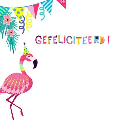 Vrolijke verjaardagskaart met flamingos en slingers 2