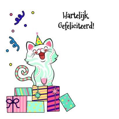 Vrolijke verjaardagskaart met kat met cadeau 2