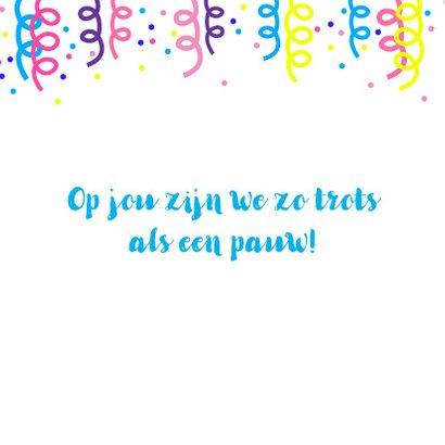 Vrolijke verjaardagskaart met kleurrijke pauw 2