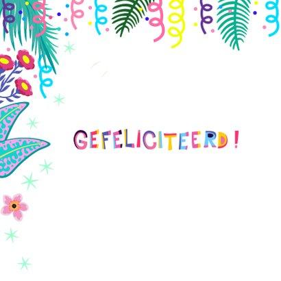 Vrolijke verjaardagskaart met papegaai en bloemen 2