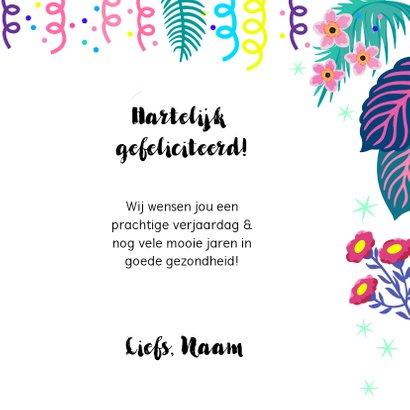 Vrolijke verjaardagskaart met papegaai en bloemen 3