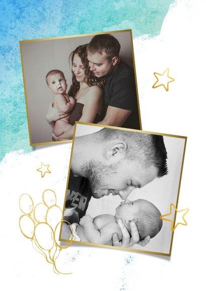 Vrolijke waterverf vaderdagkaart met foto en gouden letters 2
