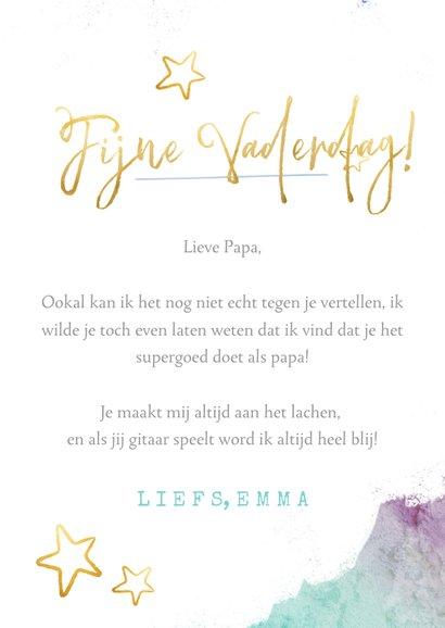 Vrolijke waterverf vaderdagkaart met foto en gouden letters 3