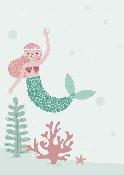 Vrolijke zeemeermin met foto uitnodiging kinderfeestje 2