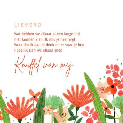 Vrolijke zomaar kaart bloemetje speciaal voor jou rood groen 3