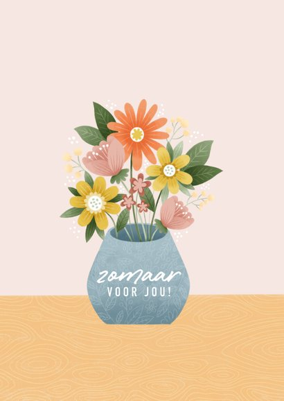 Vrolijke zomaar kaart met bosje bloemen 2