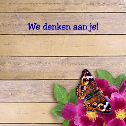 Warme beterschapskaart met wilde rozen en vlinders 3