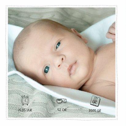 Waterverf Pastel geboortekaartje met foto's 2