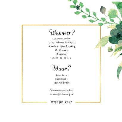 Wedding Trouwkaart Stijlvol wit met goud 3