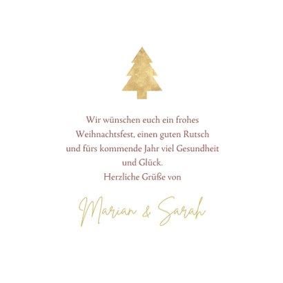 Weihnachtskarte Baum und Schrift in Goldoptik 3