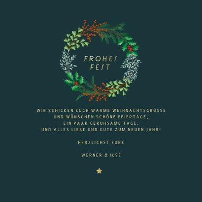 Weihnachtskarte botanischer Weihnachtskranz 3