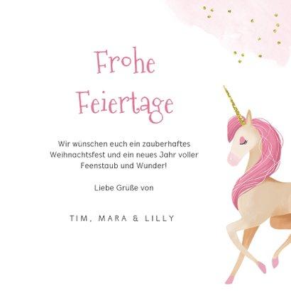 Weihnachtskarte Einhorn Magical Christmas 3