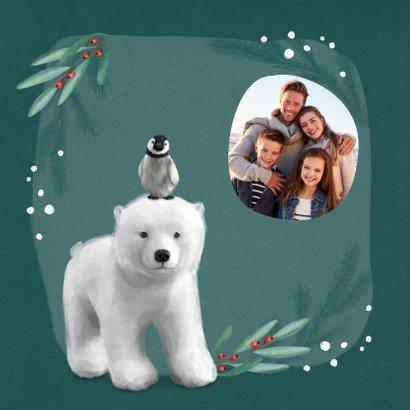 Weihnachtskarte Eisbär mit Pinguin auf dem Kopf 2
