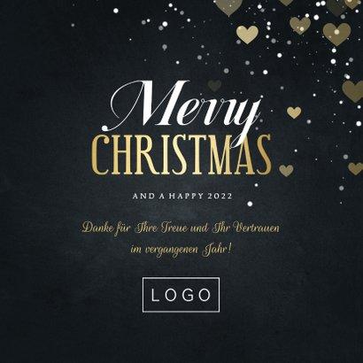 Weihnachtskarte für Mitarbeiter 'Merry Christmas' Herzen 3