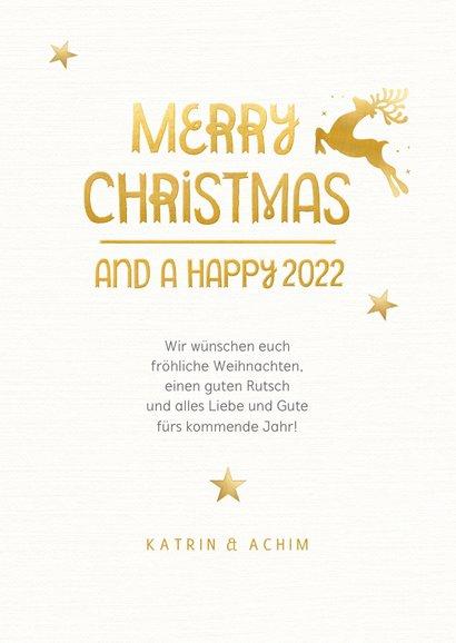 Weihnachtskarte goldenes Rentier 3