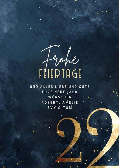 Weihnachtskarte große Jahreszahl Gold 3