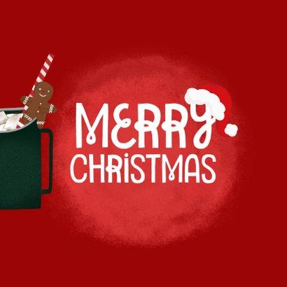 Weihnachtskarte heißer Kakao mit Zimtstangen und Lebkuchen 2