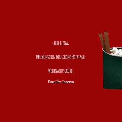 Weihnachtskarte heißer Kakao mit Zimtstangen und Lebkuchen 3