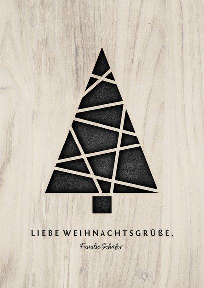 Weihnachtskarte Holzlook mit Weihnachtsbaum 3